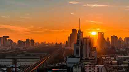 Magnificent sunset in Bangkok Thailand