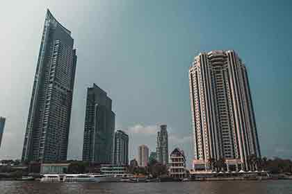 A photo of towering architectural buildings in Bangkok, Thailand